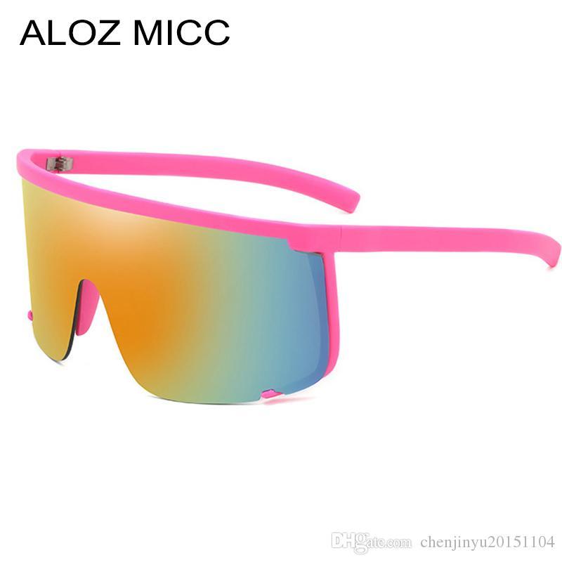 Men ALOZ Ladies Mirror Sunglasses Glasses Sunglasses MICC A667 Shield Personality Half Piece Oversize One Goggles Women Frame Xtcit