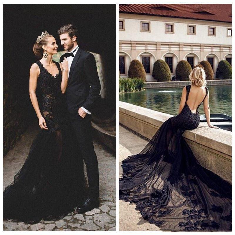 Backless atractivos Negro cordón de la sirena Vestidos de baile Vestidos formales nupcial personalizada Vestidos de matrimonio Jardín formal vestido largo