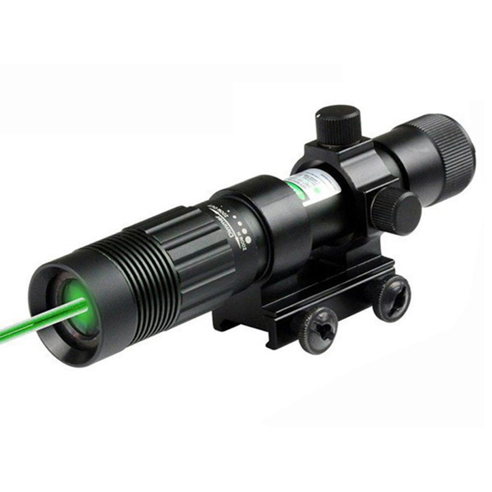 Tactical 5mW Green Laser Sight Focus Adjustable Green Laser Designator Hunting Laser Sight With 20mm Rail Mount.