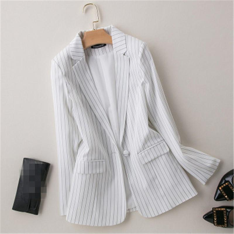 Autumn 2020 New striped small suits plus size one button blazer professional office coat was thin spring Korean jacket female817