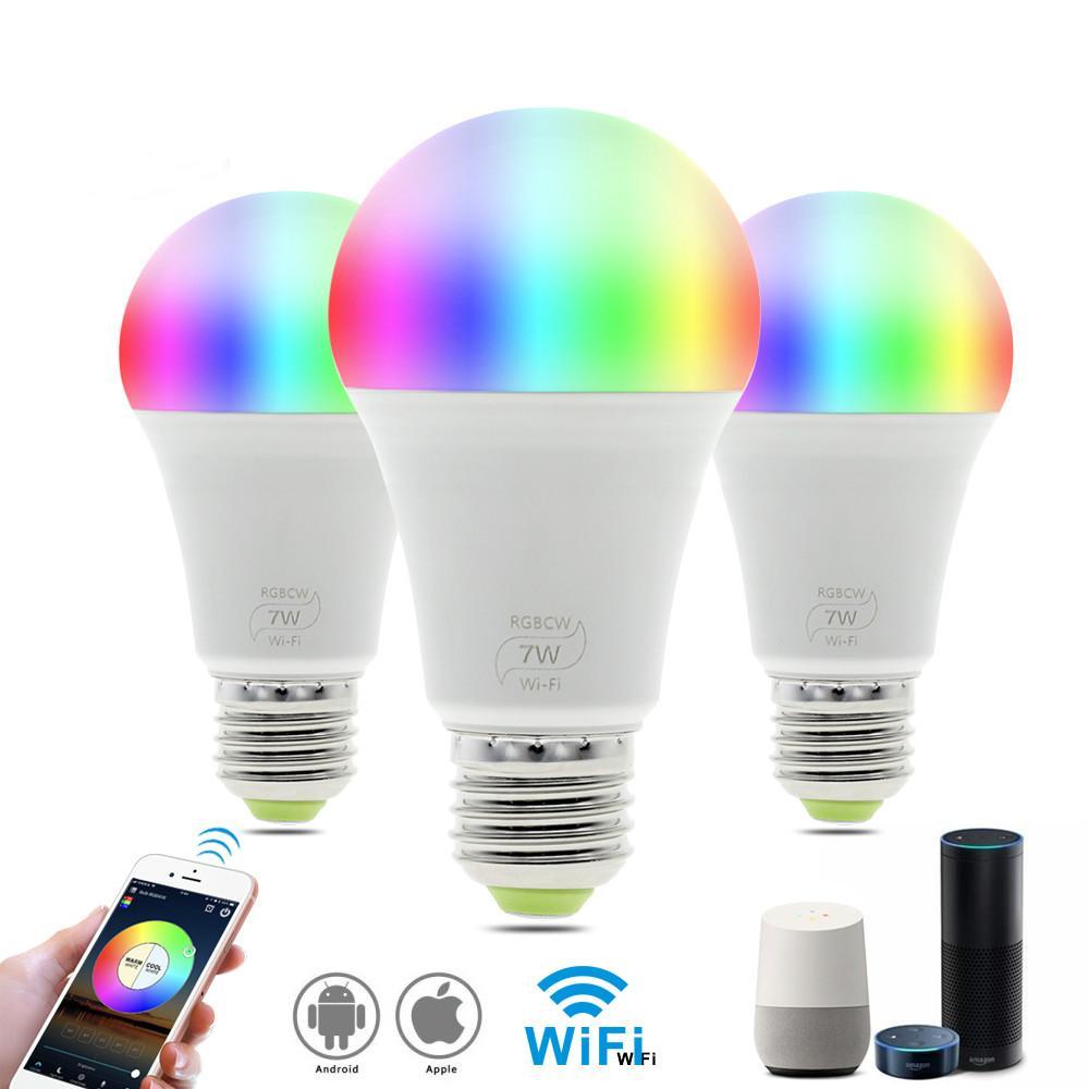 Bombilla de trabajo inteligente WIFI LED con Amazon Alexa Google Inicio RGB + + luz caliente de la luz blanca E27 7W AC85-265V LED Bombilla