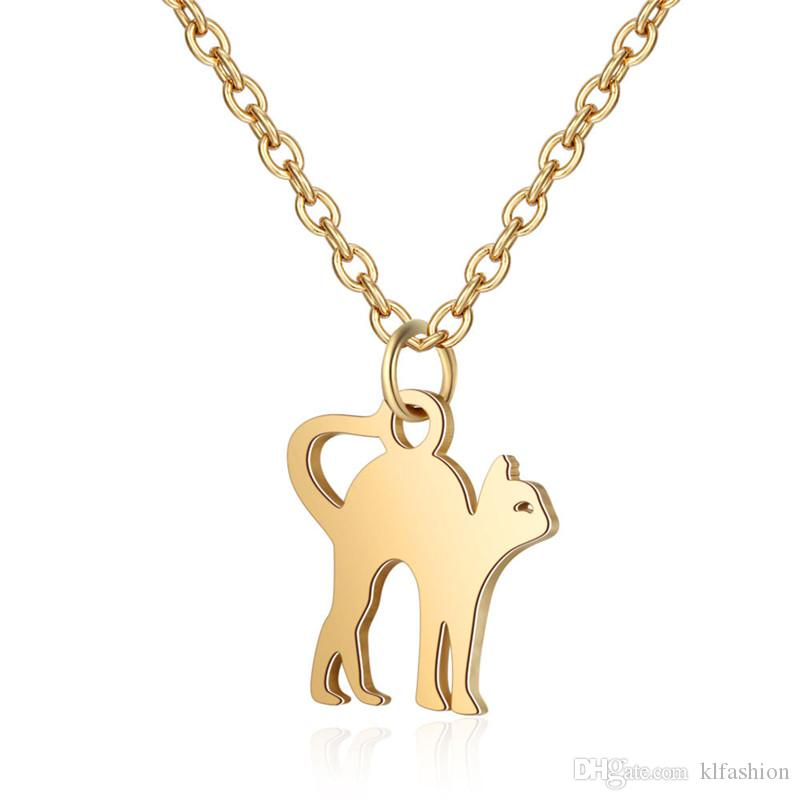 Hot Sale Cute Cat Pendant Necklace For Women Men Stainless Steel Gold Silver Simple Design Pet Cat Charm Adjustable Necklaces Jewelry Gift