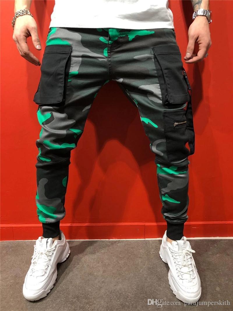 Hip Hop dos homens do desenhista Calças Calças Moda Camouflage Impresso Buckle bolso calça casual mens Street Style lápis
