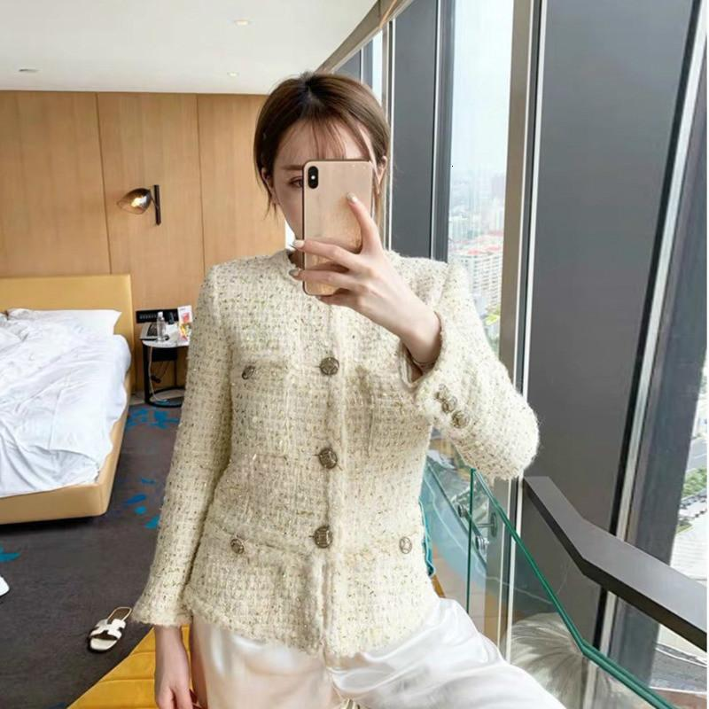 TVVOVVIN Round Neck Long Sleeve Single-breasted Sequins Woman Short Woolen Coat Casual Simple Fashion 2019Autumn Winter New X227