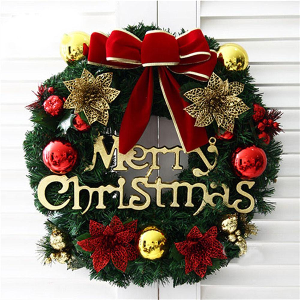 Festa de Natal Feliz PVC RED poinsétia Pine Wreath Porta Decoração Wall Natale DECORAZIONI Decorações da árvore de Natal # 10