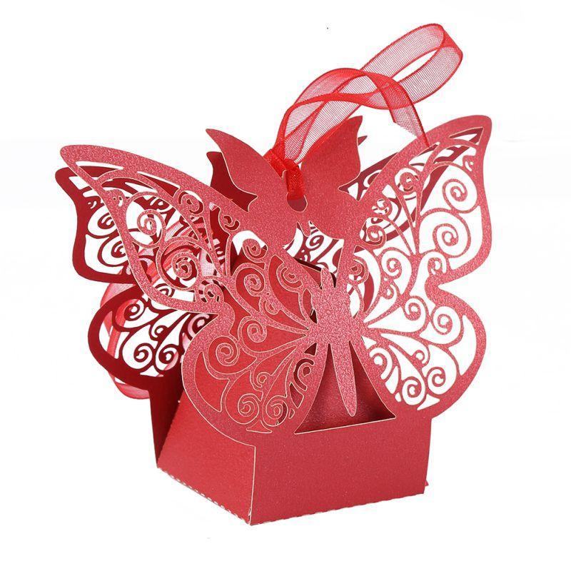 2019 10 pz / pacco scatole regalo di nozze borse scatola di caramelle farfalla vuota per battesimo compleanno prima comunione battesimo rifornimento del partito