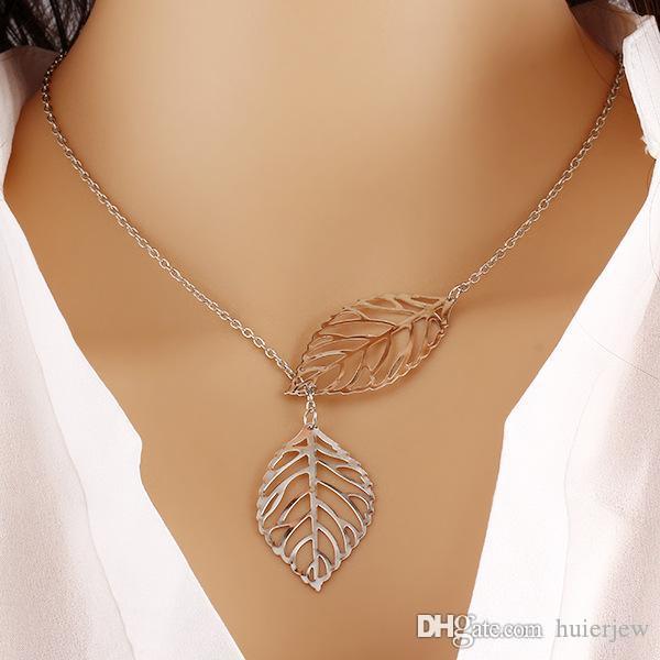 Collares Colgantes 925 Hojas chapadas en plata Collares colgantes Regalo de San Valentín Moda Coreana Bonita Plata Cadenas largas baratas Collares