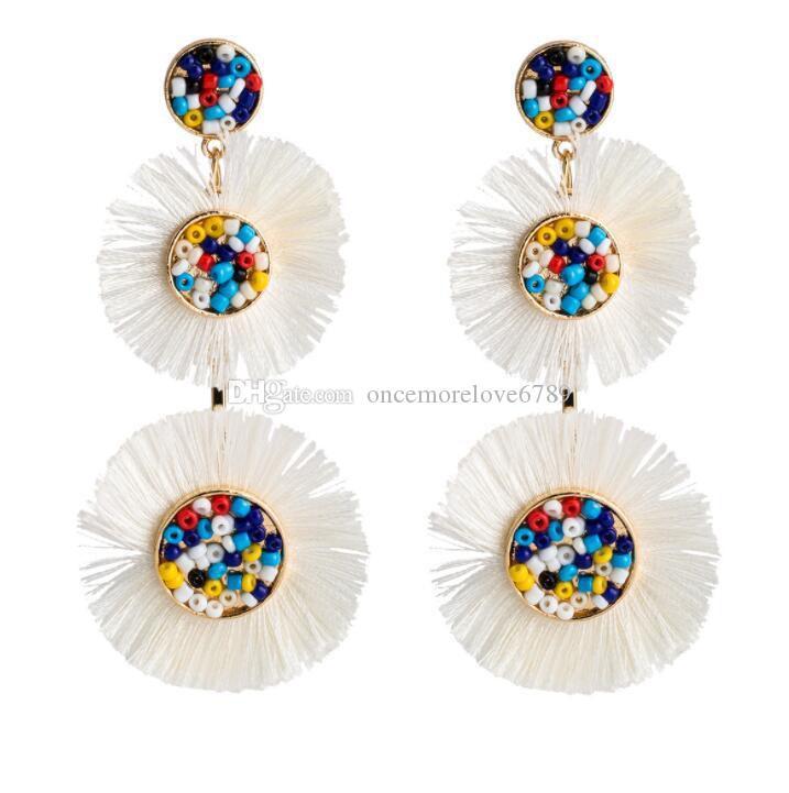 Pendientes trenzados con cuentas de arroz de múltiples capas circulares Pendientes bohemios con retro uñas Diseño original joyería hecha a mano