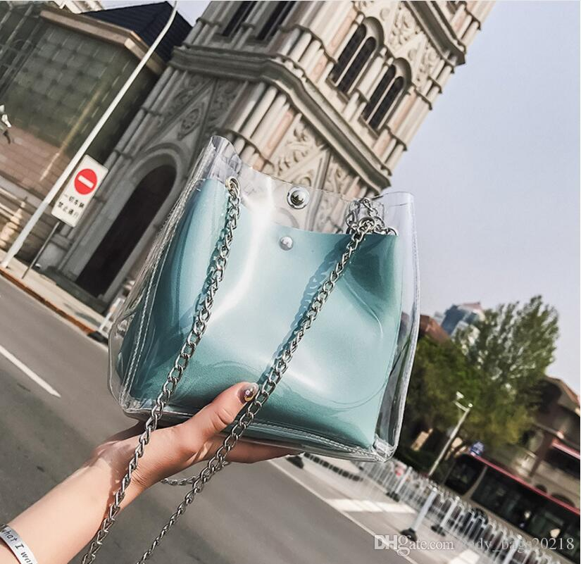 Free Shipping !fashion Bucket Bags Plastic Transparent Totes Composite Chain Bag Female Laser Jelly Handbags Hot!Hot!HOT!