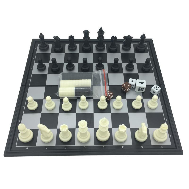 Folding Magnetic Jogo de tabuleiro de xadrez de plástico Damas Gamão 3 em 1 Define xadrez com tabuleiro e peças de xadrez Tamanho S