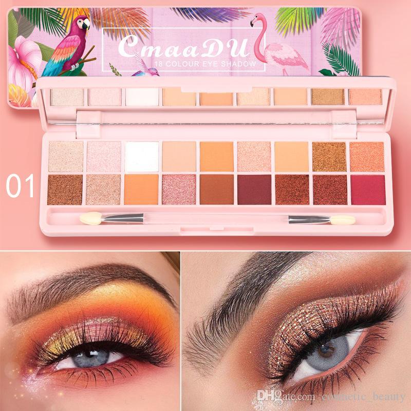 2019 CmaaDU 18 Color 3D Eyeshadow Palette Beginner Beauty Matte Pearlescent Eye Shadow Free Shipping