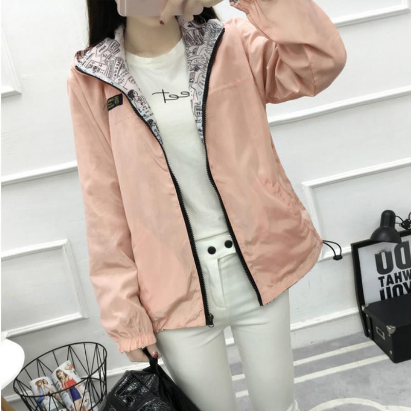 Женская куртка Мода Весна Женское пальто Основной Розовый бомбер Карманная молния с капюшоном печати и пиджаки