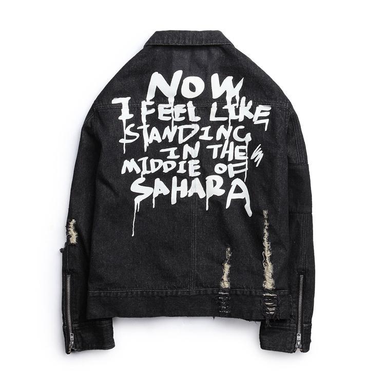 Harajuku Frayed Rock Carta impresa Vintage negro azul denim chaqueta hombres punk sudadera agujero streetwear fruncido Lavado