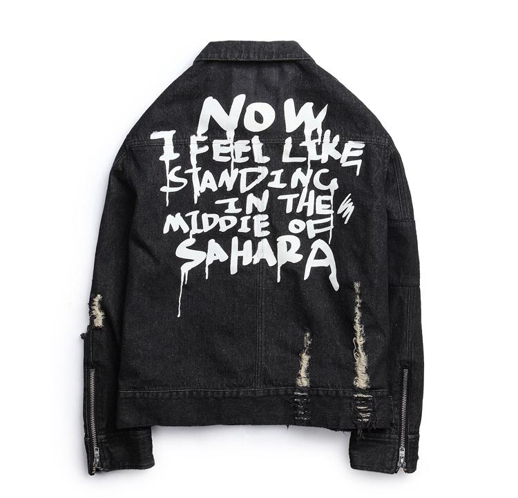 Harajuku Frayed Rock Stampa lettera Vintage nero blu denim giacca uomo punk sudadera buco streetwear increspato Lavato