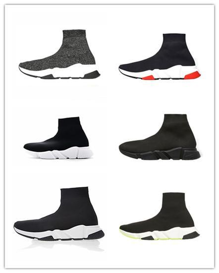 2019 Calze Scarpe degli uomini di modo donne Sneakers allenatore velocità nero bianco blu di scintillio mens rosa formatori scarpe casual Runner snkears Designer