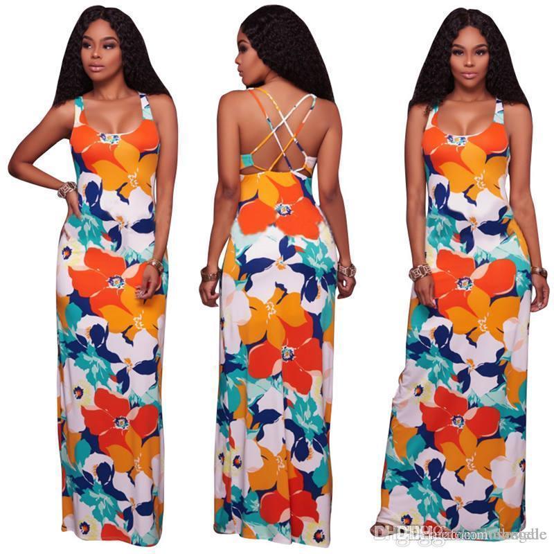 띠 플로라 인쇄 여성 디자이너 드레스 섹시한 등이없는 특종 목 맥시 드레스 여성 바닥 길이 캐주얼 의류