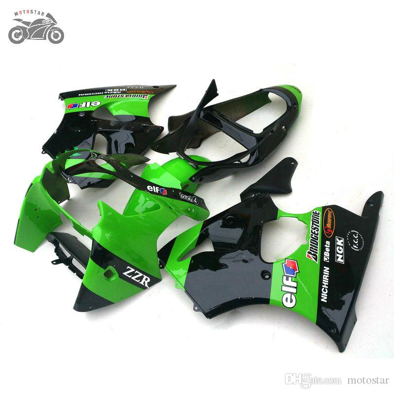 Injection carénages chinois pour Kawasaki ZZR600 2005 2006 2007 2008 ZZR600 05-08 ZZR 600 05-08 ABS plastique vert kits de carénage noir