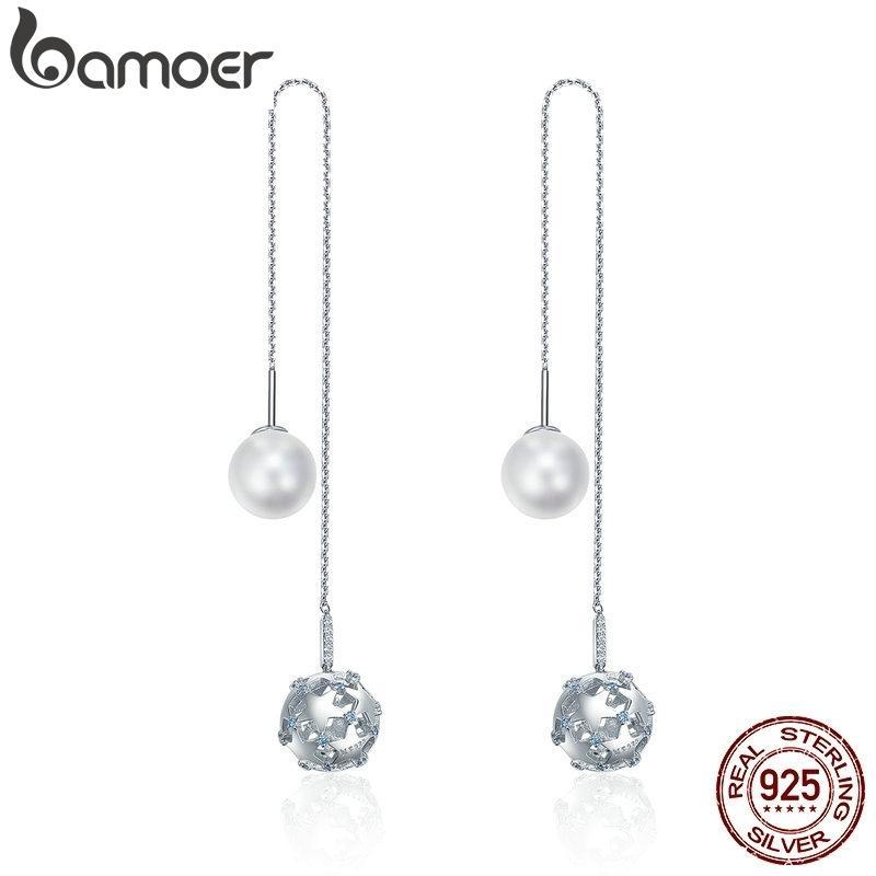Bamoer 925 Sterling Silver Long Tassel Double Sides Ball Luminous Star Drop Earrings For Women Korean Earrings Jewelry Sce241 Y19062703