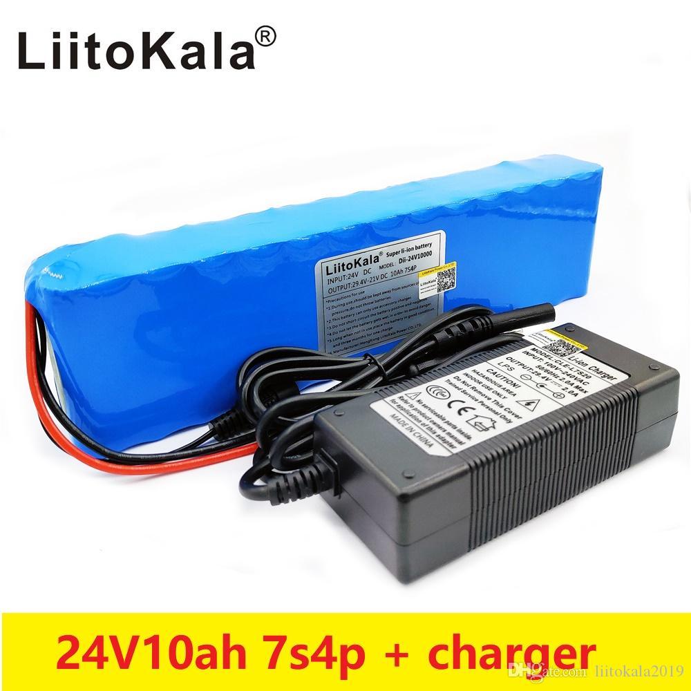 Liitokala DC 24V 10Ah batterie 7S4P 15A BMS 250W per la sedia motore set caricabatterie Electric Power + 29.4V 2A