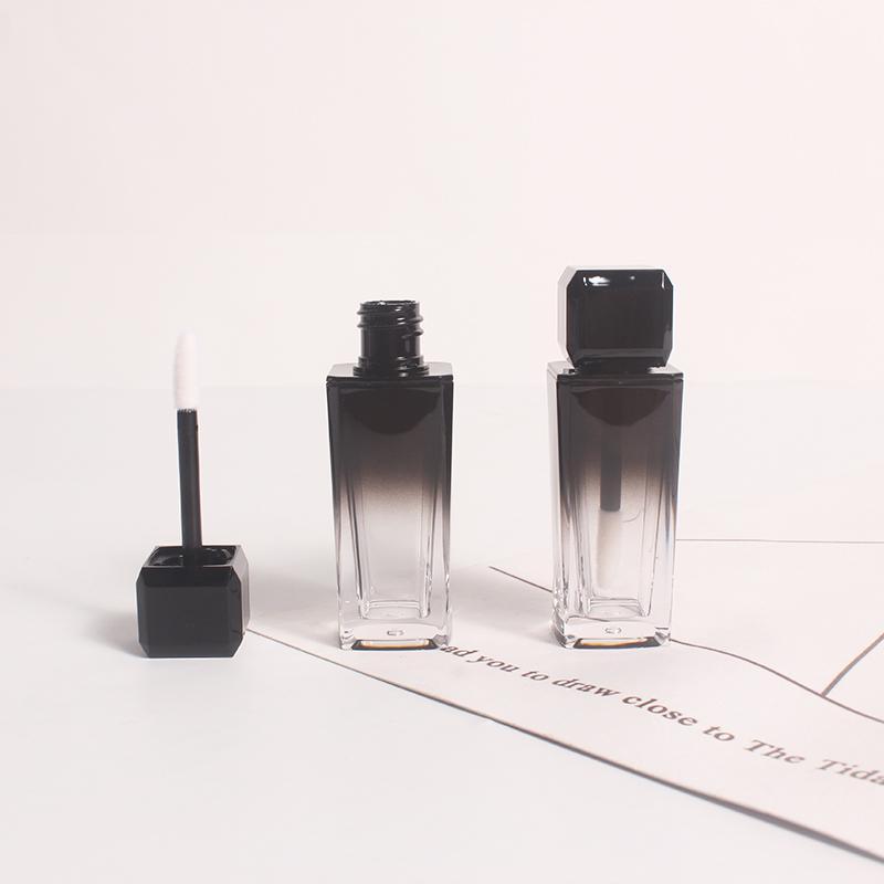 10 мл Черный Градиент Пластиковые Cosmetic Блеск для губ Губная помада пробки, пустой квадрат губ глазурь Корректор Refillable бутылки бутылки