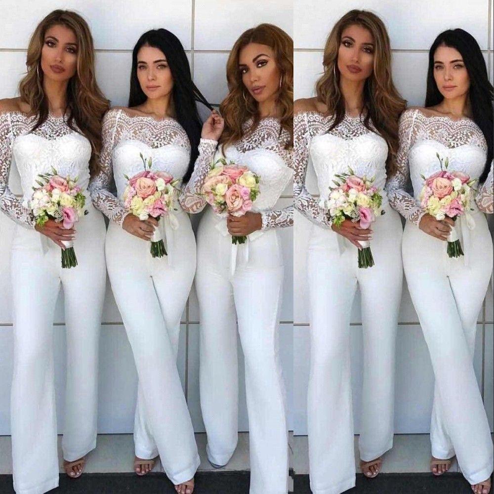 Sexy bianco poco costoso A spalle tuta Pizzo Abiti da sposa per matrimoni Pantalone Tute Mermaid maniche lunghe in pizzo Guaina Abiti da damigella d'onore