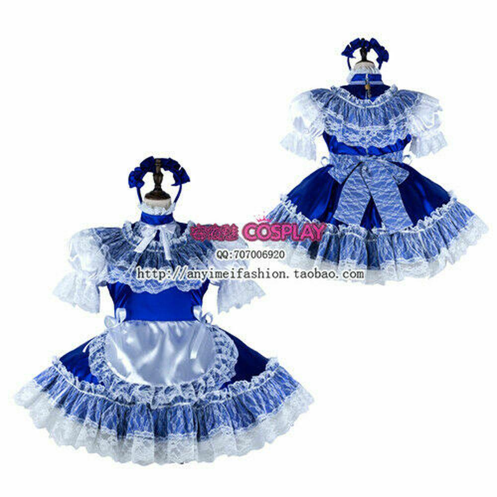 Предварительно из синего атласа-Lace Сисси горничной мини-платье косплей