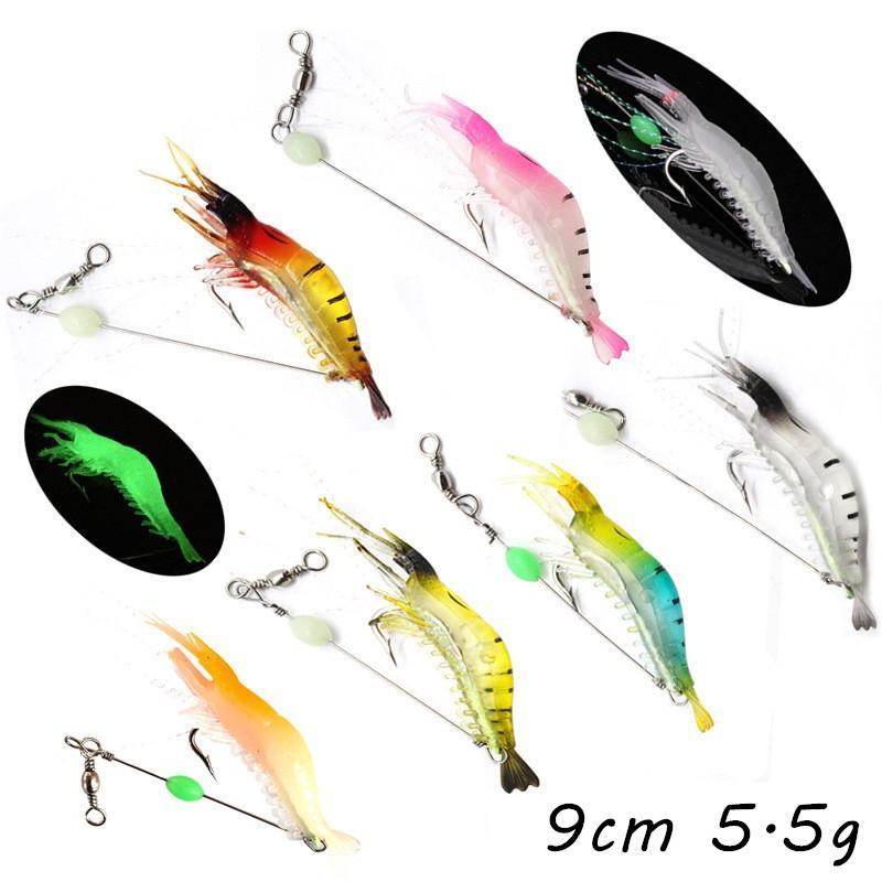 7 اللون مضيئة الروبيان لينة الطعوم السحر 9CM 5.5G واحدة هوك الصيد هوكس PESCA معالجة صيد الاسماك KL_53