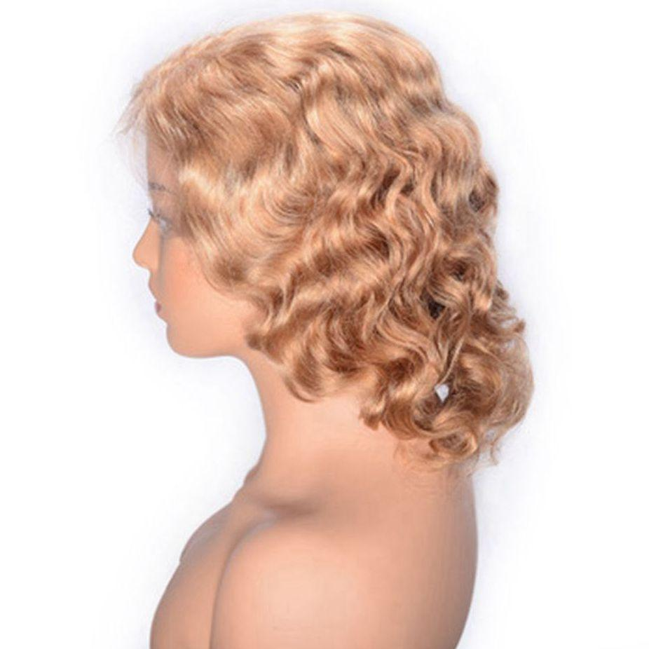 Cambodian Curly Human Hair Lace Front Wig 27# Colored Short Glueless Lace Wig for Women Medium Size Cap