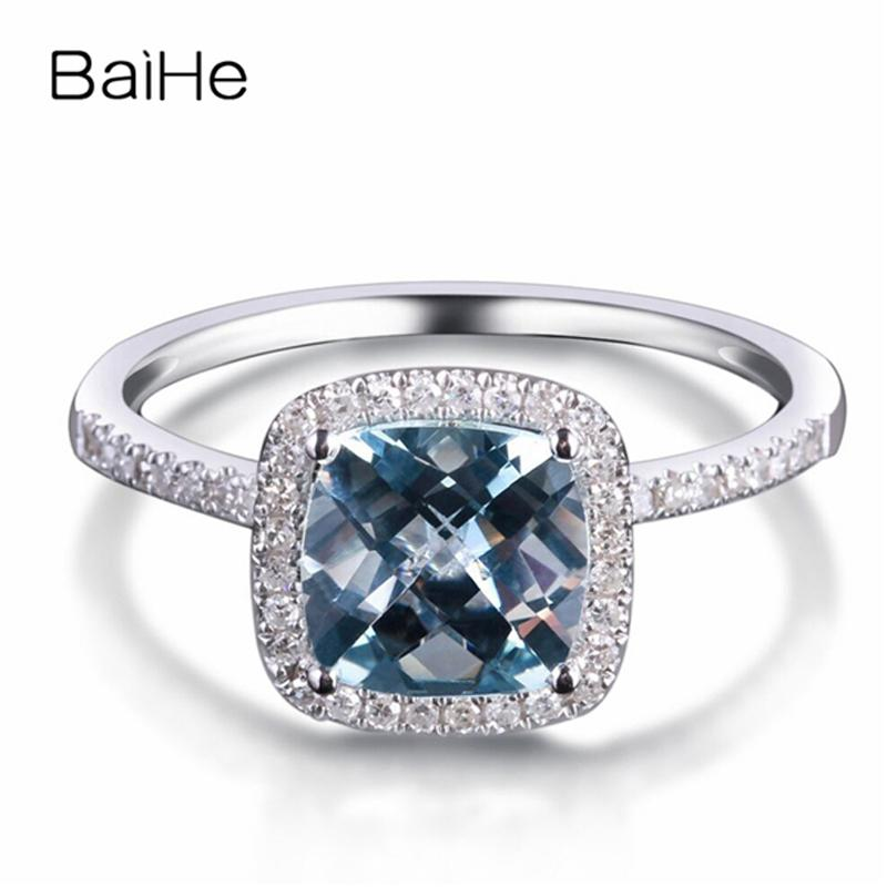 BAIHE Solid 14K White Gold 1.2CT Aquamarine 0.20ct Natural Diamonds Wedding Gift Women Trendy Fine Jewelry Gift Aquamarine Ring T200701