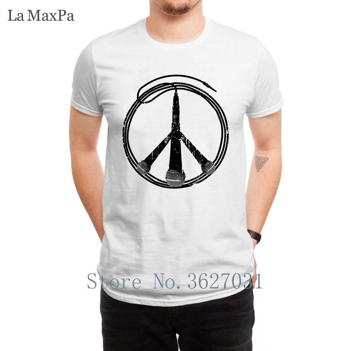 Impresión de la novedad de las camisetas hombre de la música no la guerra camiseta impresionante verano camiseta para Menss casual 100% algodón Interesante