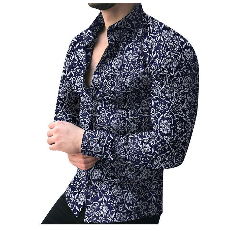 Sosyal Gömlek Erkek Uzun Kol Çiçek Baskı Gömlek Sonbahar Gömlek Elbise Camisa Düğme klapalarında Yaka Erkek Dönüş Aşağı Yaka Camisa
