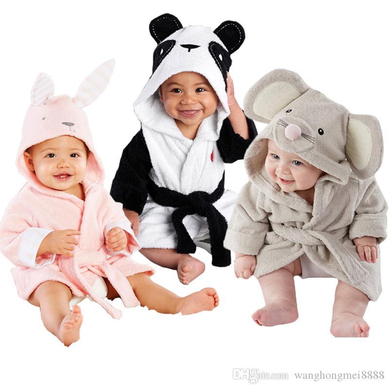 Мультфильм дети халаты фланель ребенка мальчики девочек халаты с длинным рукавом прекрасное животное капюшона халат детский халат детская одежда