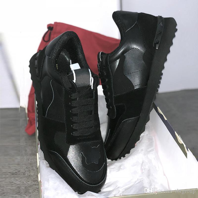 Mens Rockrunner camuflaje de diseño de lujo zapatos de moda zapatos de mujer zapatilla de deporte para hombre del cuero auténtico mujeres de pisos formadores ocasionales del tamaño 35-45
