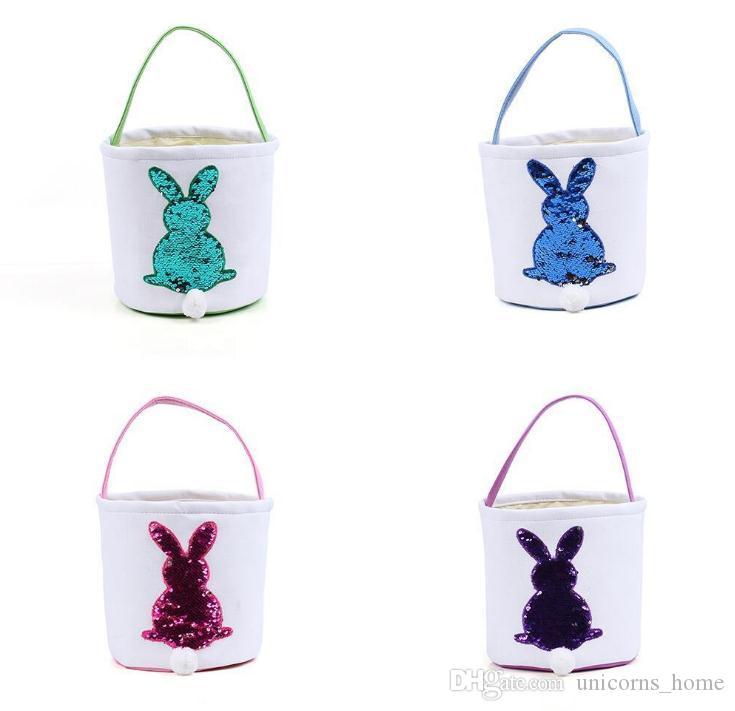 Ei Mermaid Pailletten Körbe Bag Ostern CNY1015 DIY Bunny Kaninchen Aufbewahrungskorb Candy Korb Ostern Sackleinen Taschen HMWSL