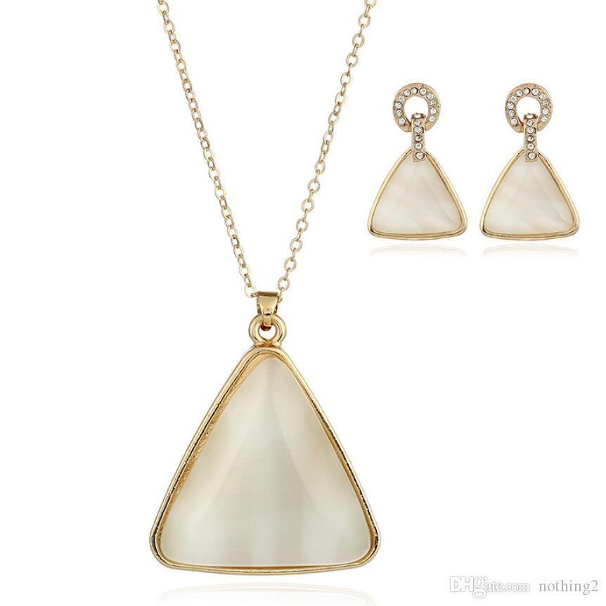 colares designer de jóias jóias de opala conjuntos de cristal geometria forma de triângulo brincos para as mulheres livres de moda quente do transporte