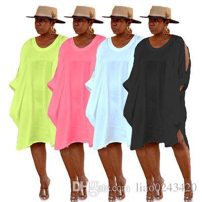 La nave libera 2019 donne estate bella tunica abito di colore della caramella casuale girocollo allentato ginocchio abiti 4XL taglie forti