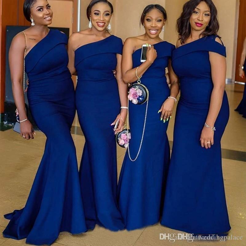 Royal Blue One Shoulder Mermaid Bridesmaid Dresses Sweep Train Simple African Country Wedding Guest Gowns Maid Of Honor Bridal Dress