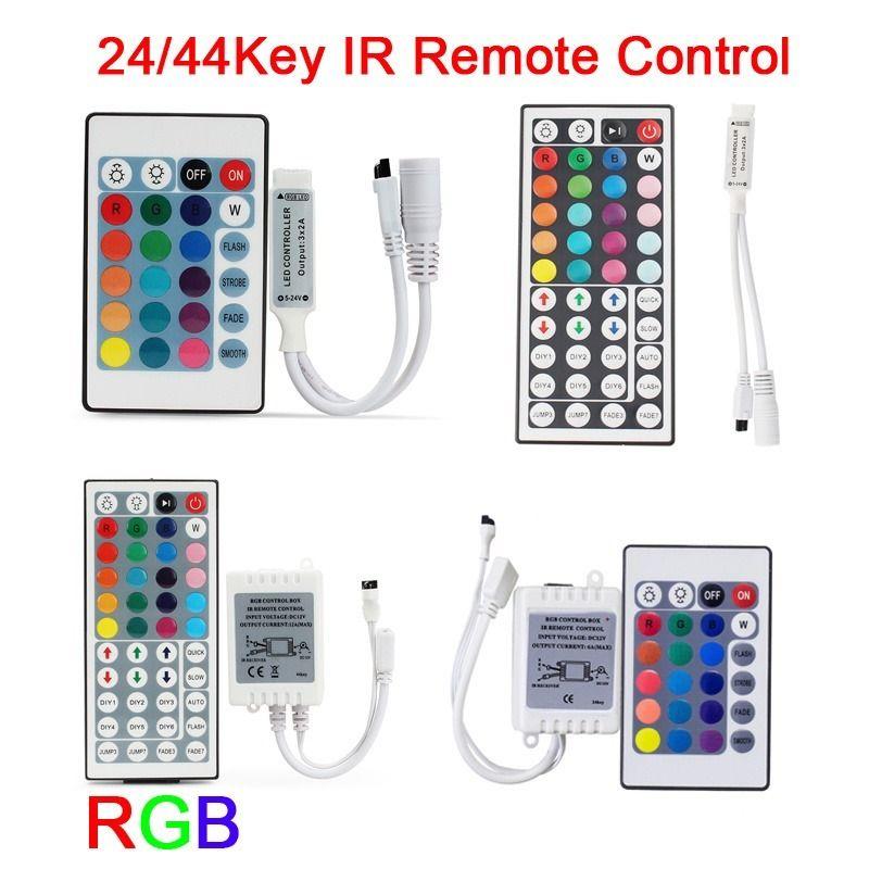 12V DC 24V RGB بقيادة تحكم 24 مفتاح 44 مفتاح IR LED التحكم عن بعد لبقيادة قطاع 5050 2835 3528 5630