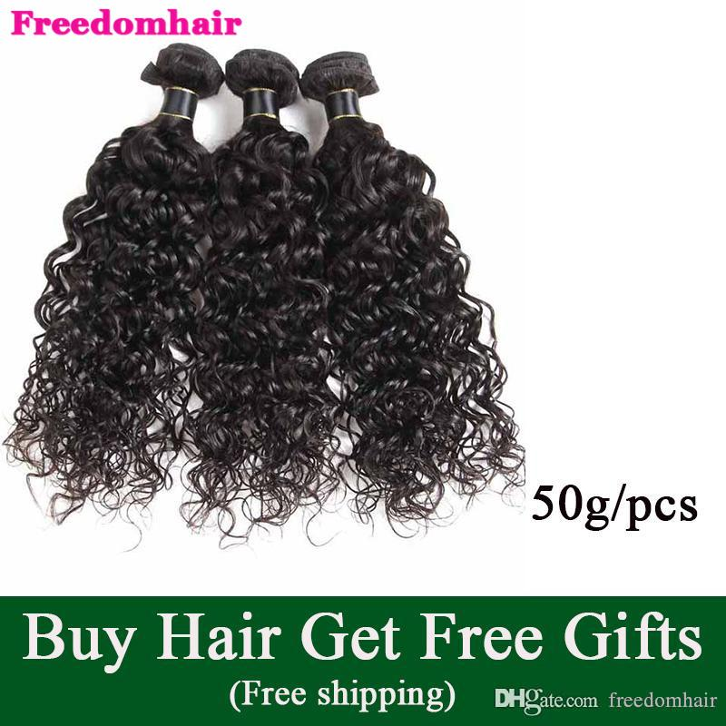 Brazilian Remy Human Hair Weave Cheap Brazilian Virgin Human Hair Extensions Natural Black Malaysian Hair Extensions Water Wave 50g/pcs
