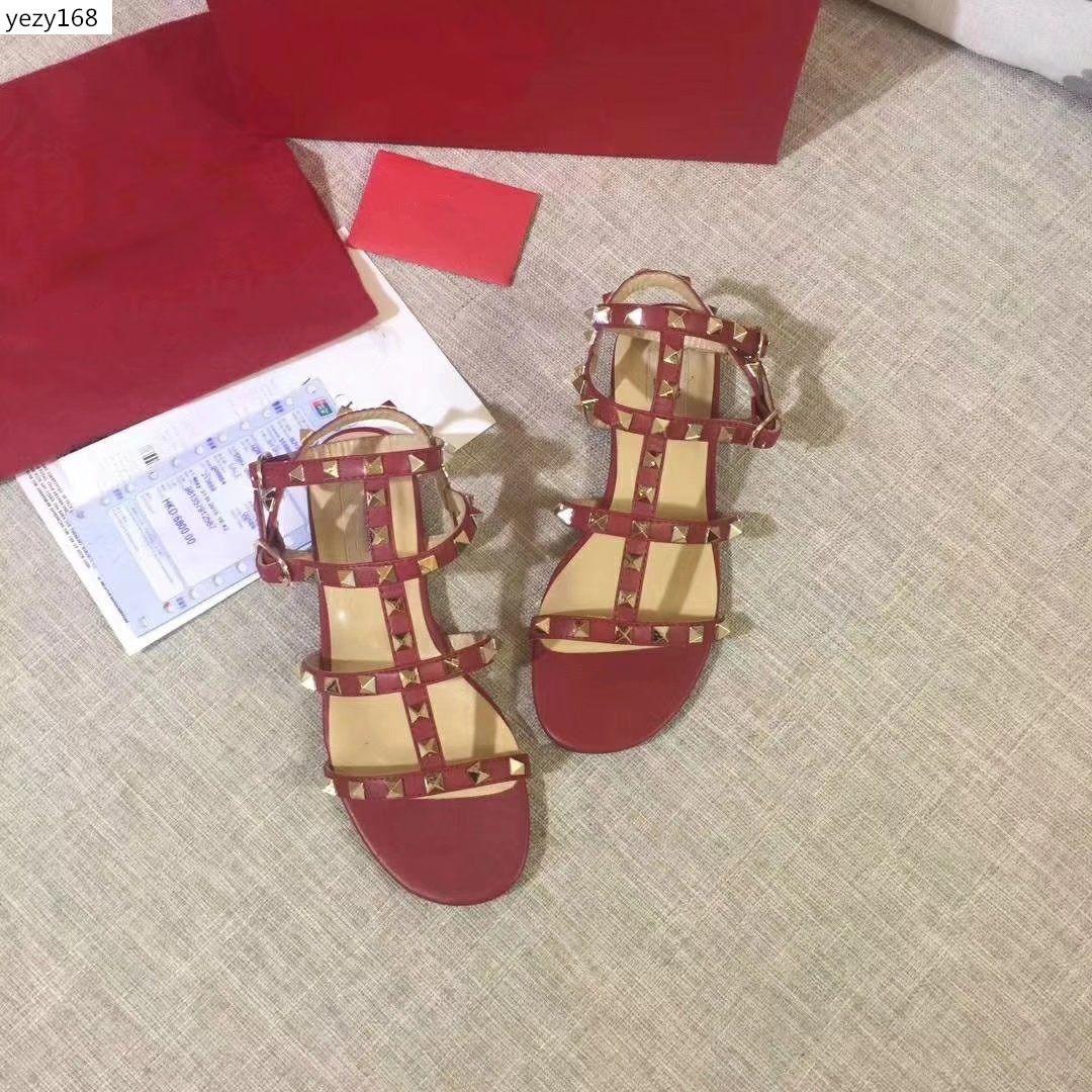High-quality Popular Brand Women's sandals Valen Rivet Espadrilles Shoes Casual Sandals Leather Slipperssize 42