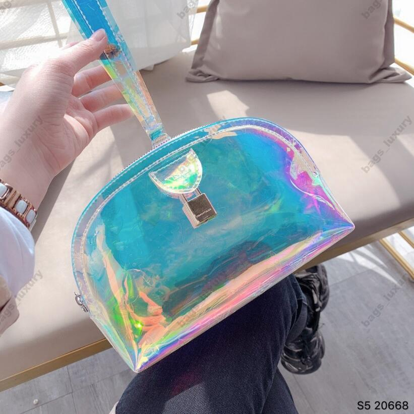 Laser Holographic Women Envelope Clutch Party Shining Lady Clutches PVC Leather Female Wrist Clutch Purse Evening Bags Shell Wallet