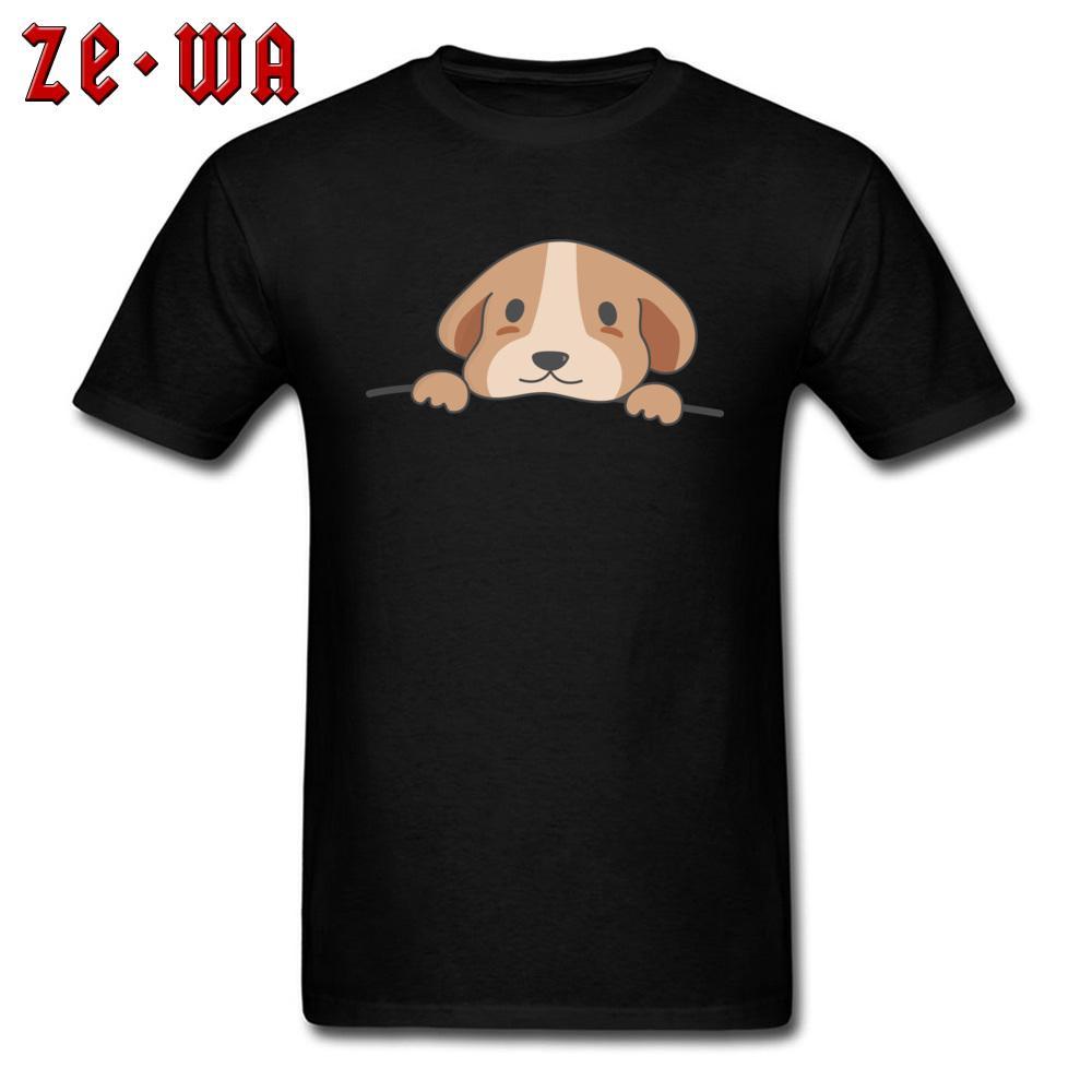 Sevimli Cep Köpek Tops Tees Erkekler Grafik T-shirt Kawaii T Shirt Yetişkin Güzel Tasarım Giyim Pamuk Tişörtleri Siyah Yaz Yeni