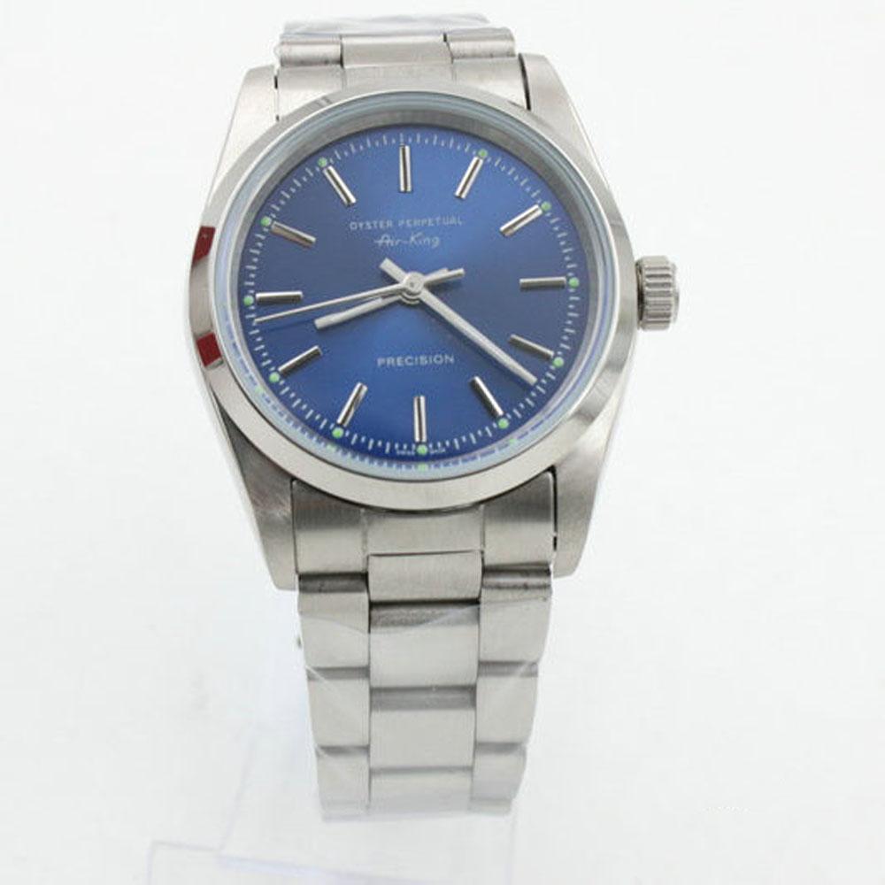 bleu style classique et châssis blanc Air King de haute qualité mouvement mécanique automatique en acier inoxydable 36mm montre de la mode masculine