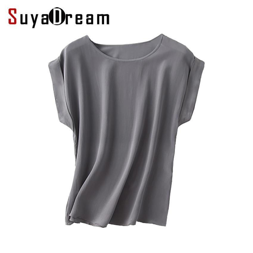 T-Shirts Women Real Silk T Shirt Short Bat sleeved Solid chiffon loose shirt 100% Natural silk Basic Top Plus size 2019 Summer bottoming