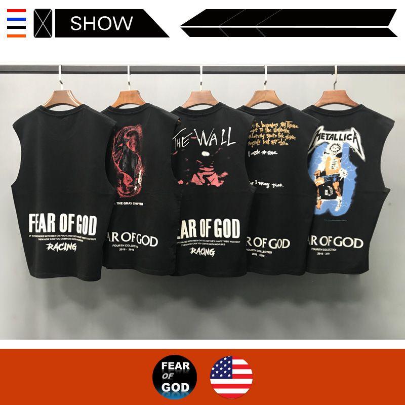 Diseñador Street Tide FEAR OF GOD Chaleco FOG FEAR OF GOD Chaleco sin mangas Rock Chaleco Retro Wash Top Camiseta Baggy Popular Logo Camiseta para hombre