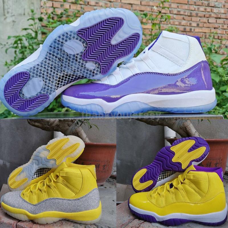 2020 مصمم جديد 11 XI WMNS فضي معدني 11S أصفر أحذية الرجال لكرة السلة الأبيض الأرجواني العليا Jumpman الرياضة المدربين احذية US13 Eur47