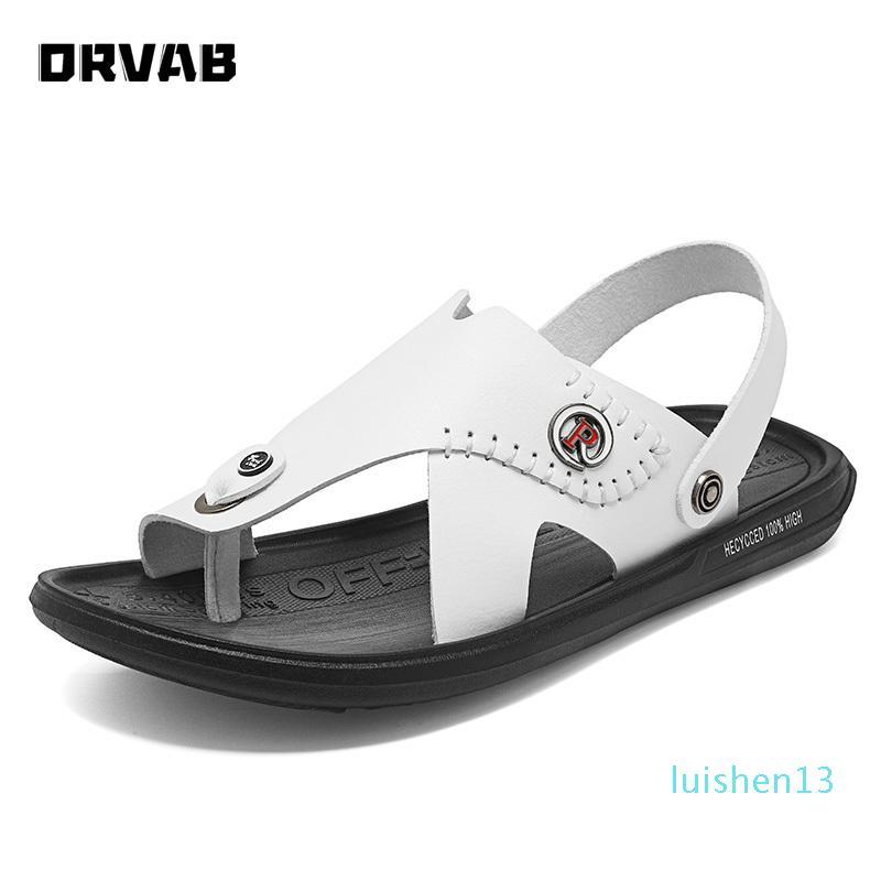 Sandalet Erkek Moda Ayakkabılar Gerçek Deri Kayma-On Plaj Sandalet Erkek Rahat Ayakkabı Erkek Gladyatör Yaz Terlik YENİ L13