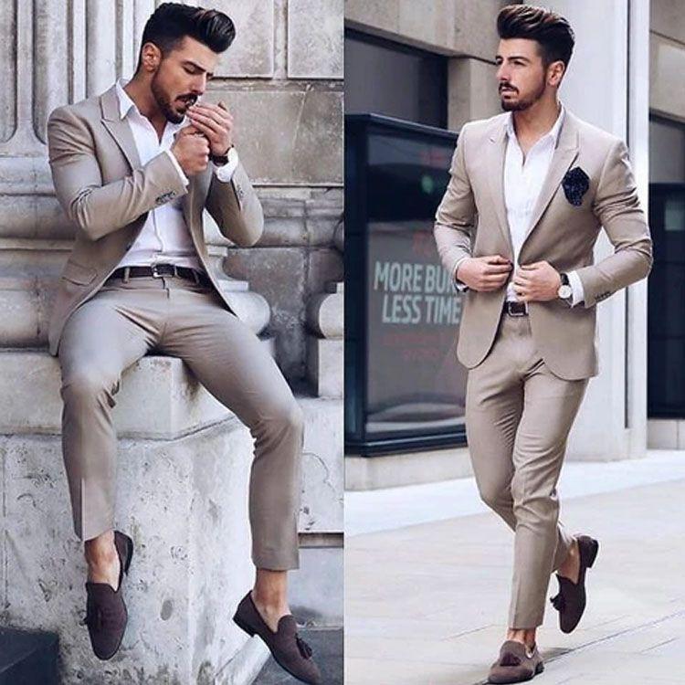 Consideráveis Mens Suits mais recente para o casamento smoking noivo desgaste entalhado lapela Groomsmen Outfit melhor homem Blazers Terno (camisa + calça)