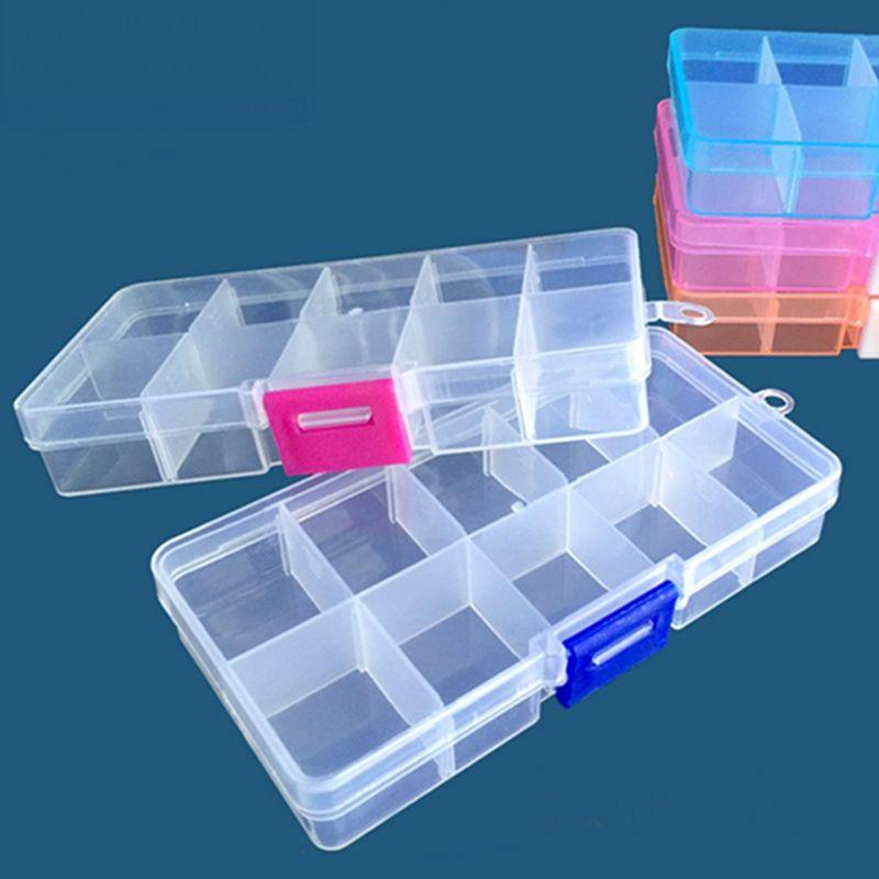 divisores ajustáveis caixa de armazenamento de plástico Organizador de recipiente amovível Grade compartimento para grânulos de jóias Ferramenta Brinco de recipiente 10 Grelha