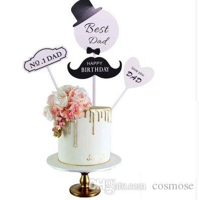 Best Dad Cupcake Topper Fiesta de cumpleaños del día de Fathday Decor Cake Topper Para Cupcake Topper Fiesta de cumpleaños feliz suministros